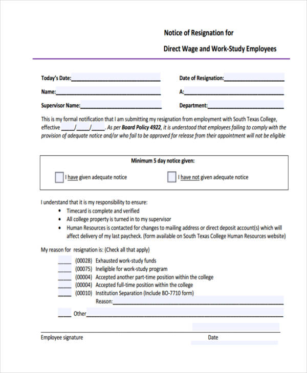6+ Work Notice Examples  Samples - notice form example