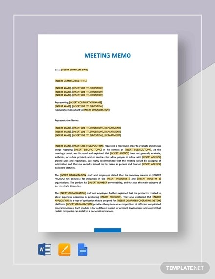 13+ Meeting Memo Examples  Samples - PDF, DOC, Pages Examples