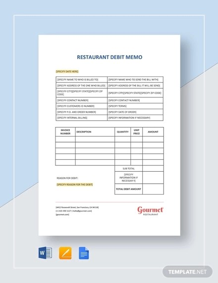 11+ Debit Memo Examples  Samples - PDF, Word, Pages Examples