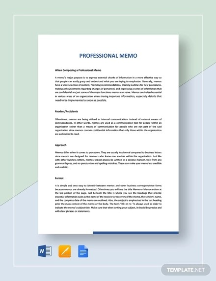 7+ Professional Memo Examples - Word, Google Docs, Apple Pages