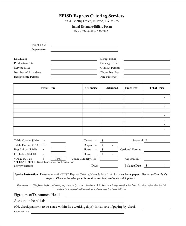 6+ Catering Invoice Example  Samples