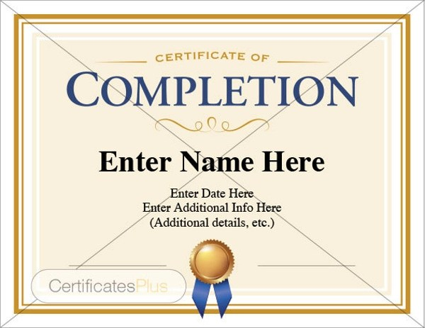 8+ Certificate of Completion Examples  Samples