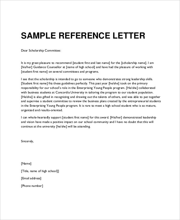 36+ Reference Letter Examples  Samples - PDF, DOC - reference letter examples