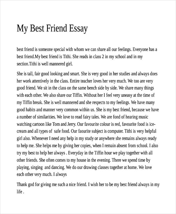 descriptive essay on my best friend