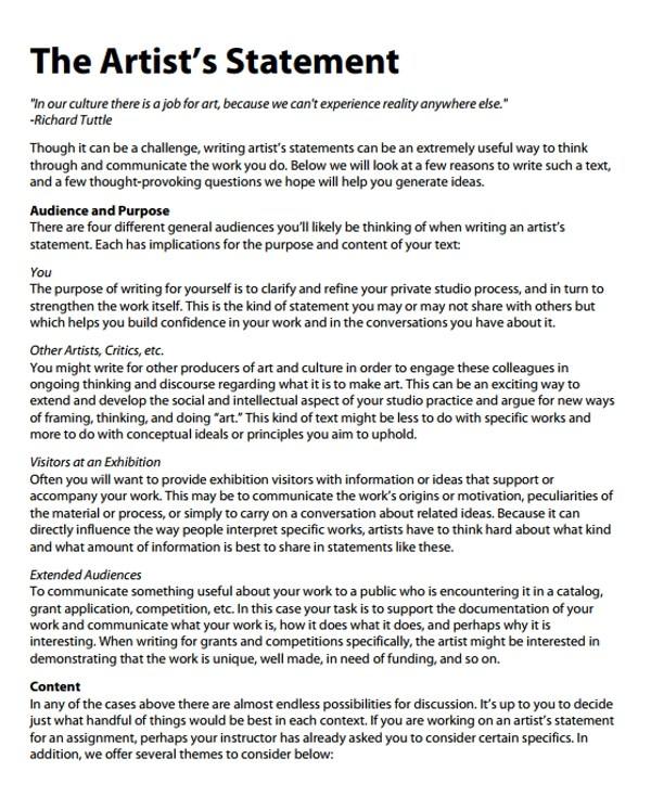 Examples Of Artist Statements Images - example cover letter for resume