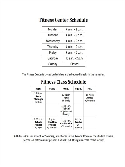 9+ Examples of Fitness Schedules | Examples