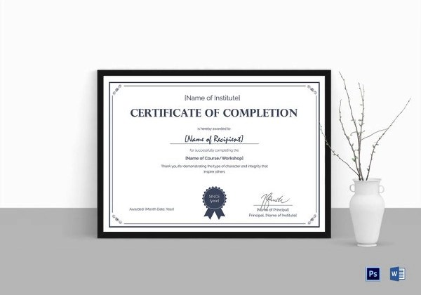 26+ Completion Certificate Examples - PSD, PDF, Word - formal certificate template
