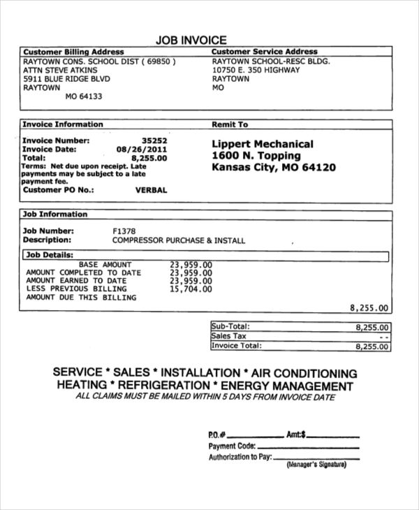 job invoice forms