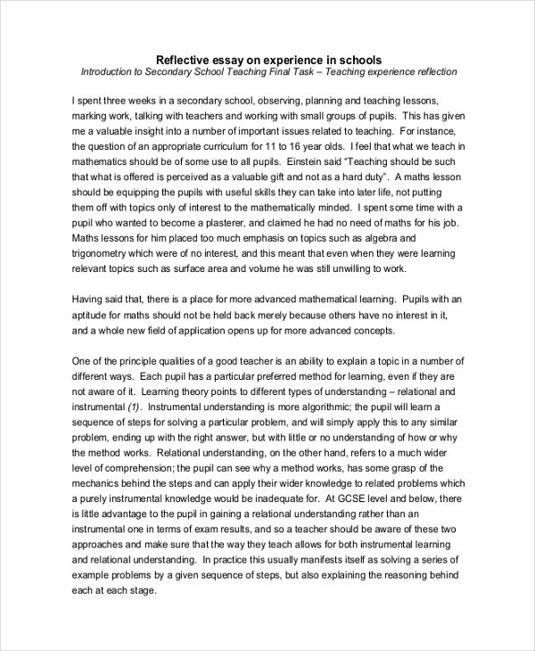 free reflective essay examples