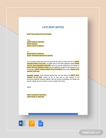 8+ Late Rent Notice Examples amp; Samples - Google Docs, MS Word