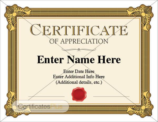 appreciation award certificates