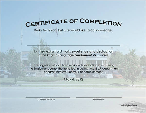 example of certificate of completion