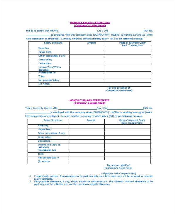 11+ Salary Certificate Examples  Samples - employee certificate sample