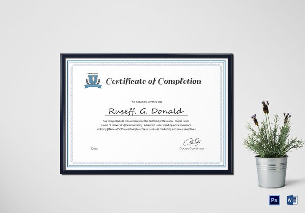 26+ Completion Certificate Examples - PSD, PDF, Word