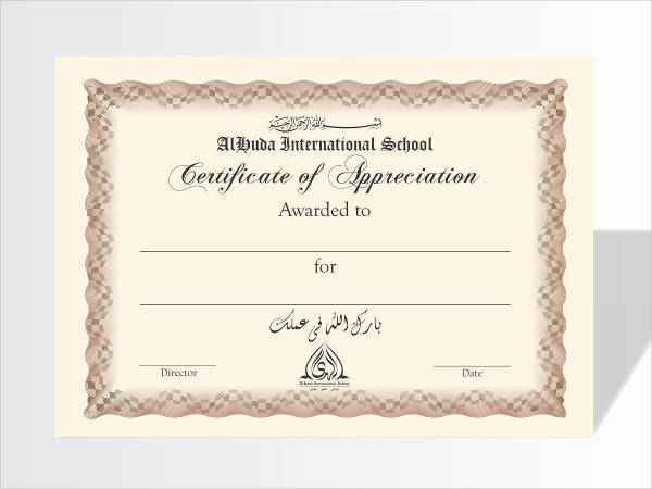 8+ Examples of Certificate of Appreciation Examples, Samples - sample school certificate