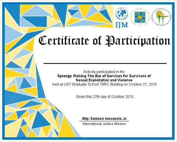 certificate of participation sample - Ozilalmanoof