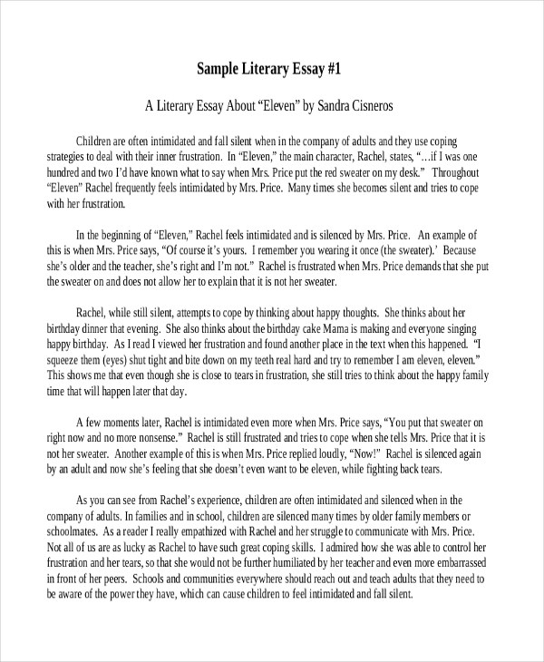 6+ Literary Essay Examples, Samples - essay examples in literature