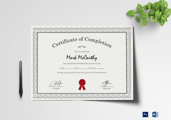 26+ Completion Certificate Examples - PSD, PDF, Word - certification of completion sample