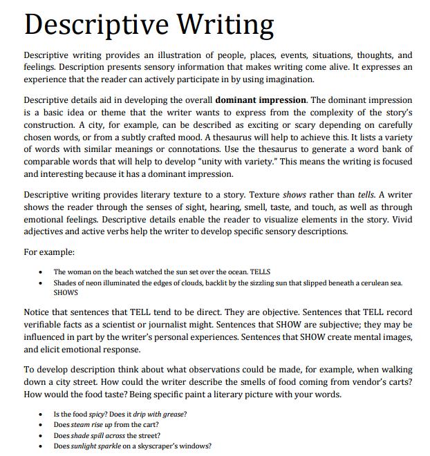 10+ Descriptive Writing Examples  Samples - PDF