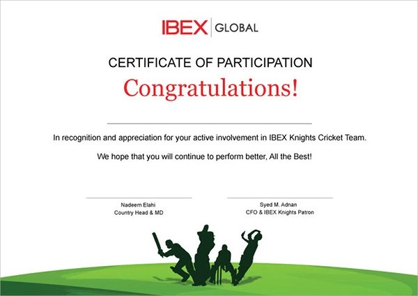 9+ Participation Certificates Examples  Samples Examples