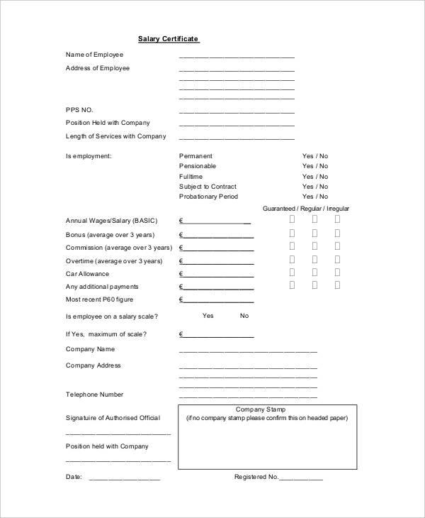 10+ Salary Certificate Examples  Samples - PDF, Word