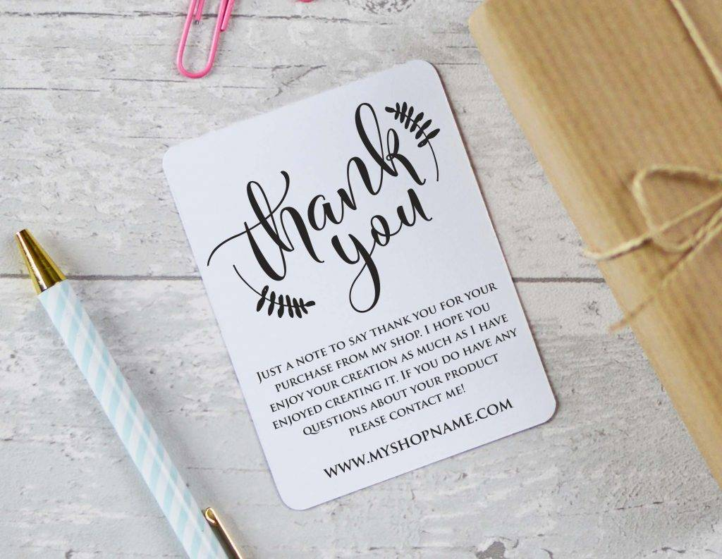 thank you cards with business card insert
