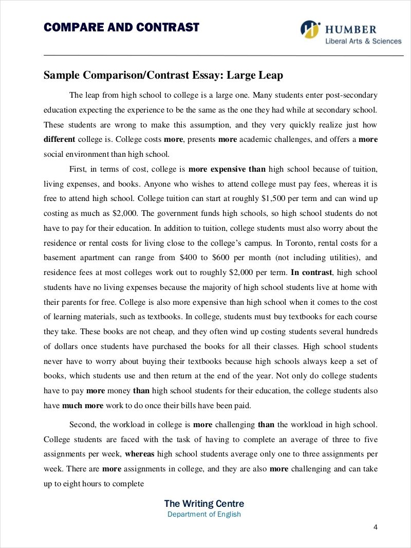 example comparison essay