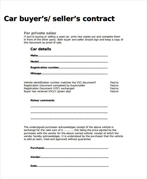 9+ Car Selling Contract Examples - PDF, DOC Examples