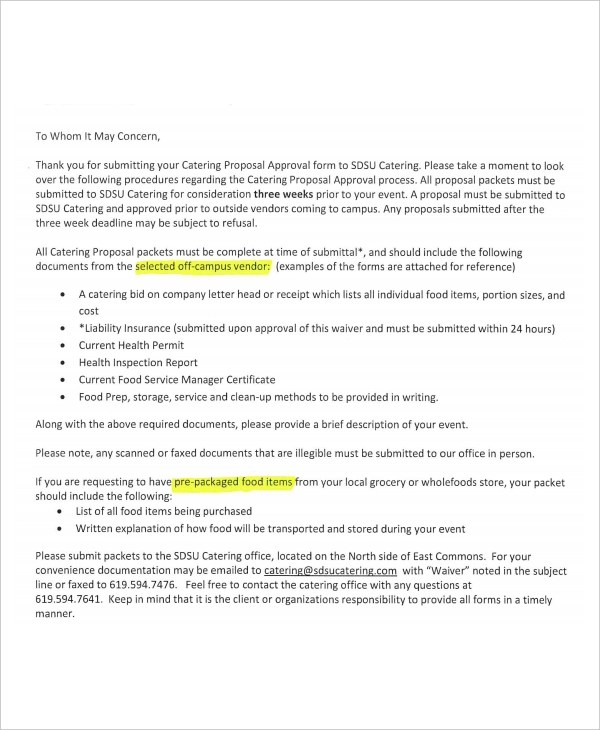 11+ Catering Proposal Examples - PDF, DOC, PSD, AI - catering proposal letter