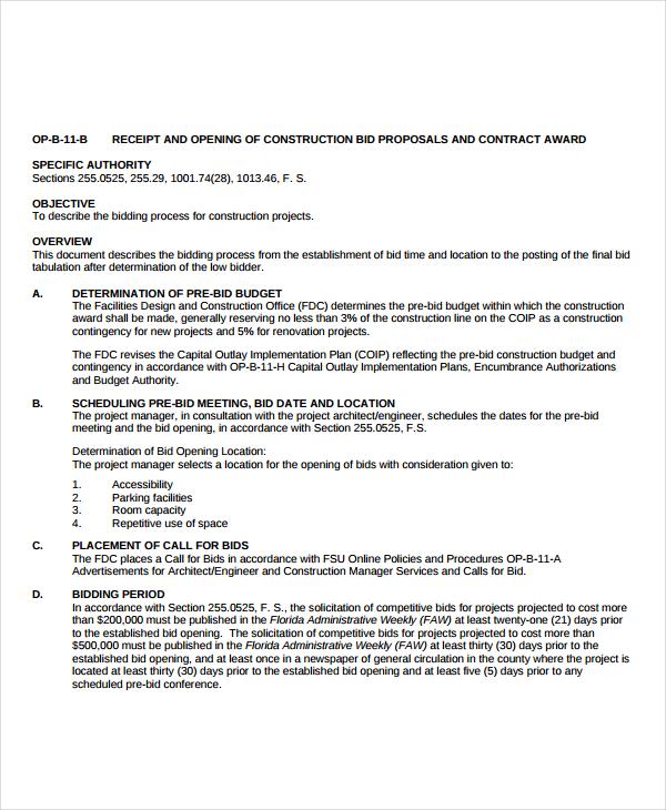 12+ Bid Proposal Examples - PDF, DOC