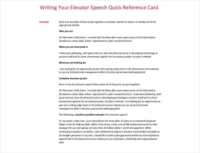 13+ Elevator Speech Examples  Samples in PDF