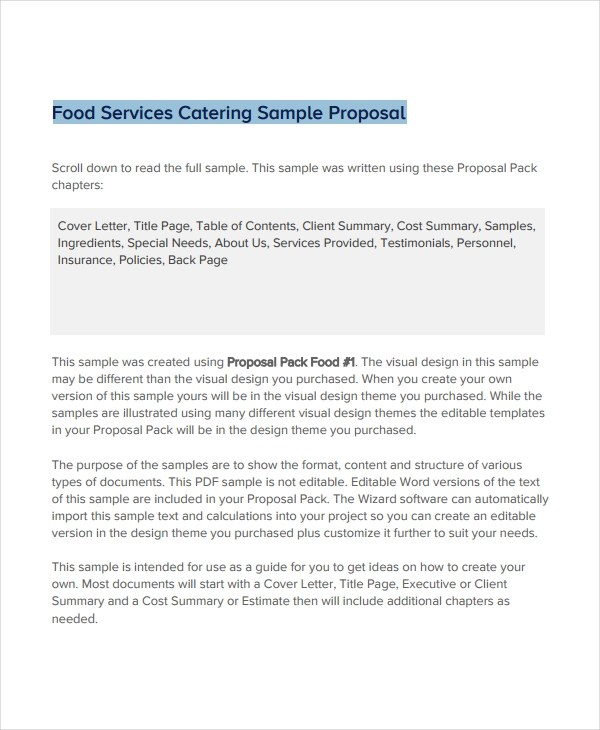 11+ Catering Proposal Examples - PDF, DOC, PSD, AI