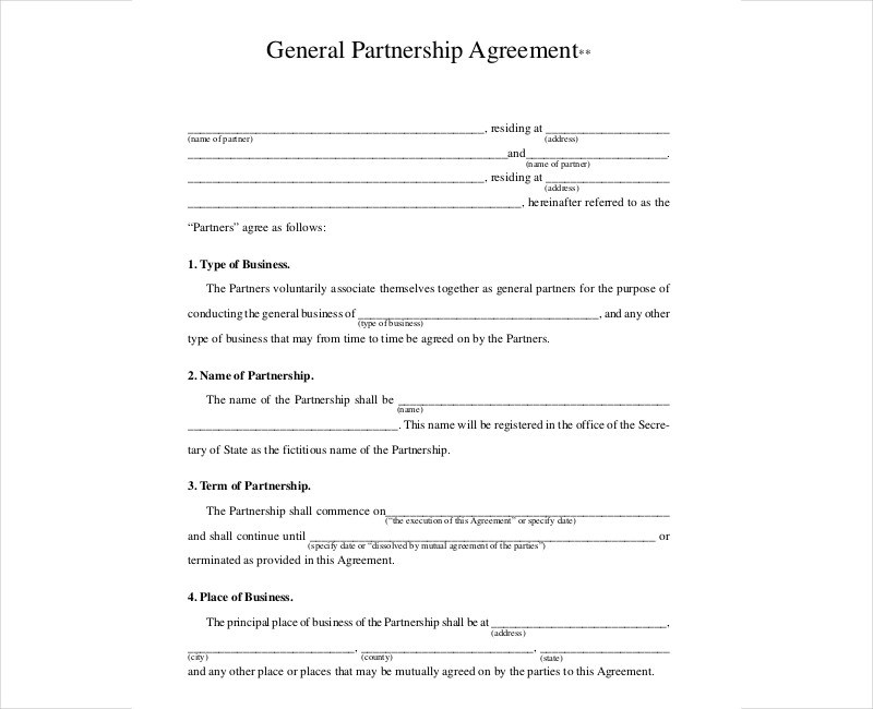 11+ Partnership Contract Examples  Samples - PDF, DOC