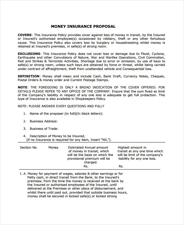 11+ Insurance Proposal Examples - PDF, Word Examples