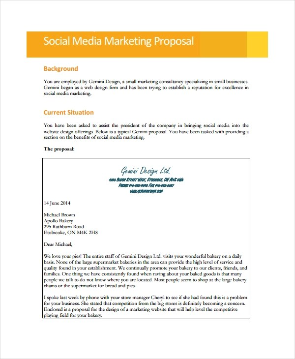 9+ Social Media Marketing Proposal Examples  Samples - PDF, DOC, Pages