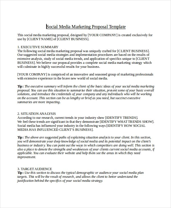 12+ Social Media Marketing Proposal Examples  Samples - PDF, DOC