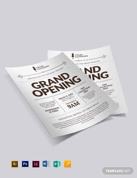 10 Grand Opening Flyer Templates - PSD, Docs, Ai, Pages+ Examples