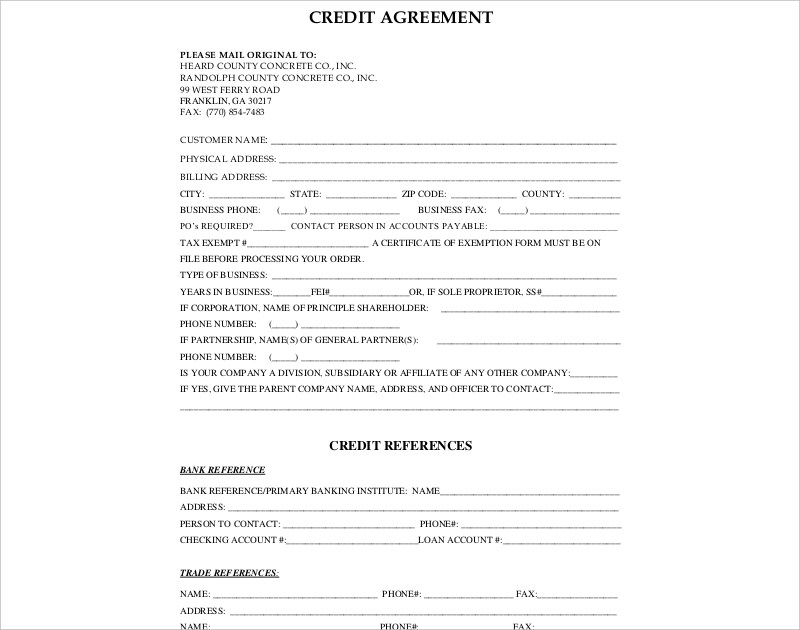15+ Credit Agreement Examples  Samples - PDF, DOC - credit agreement