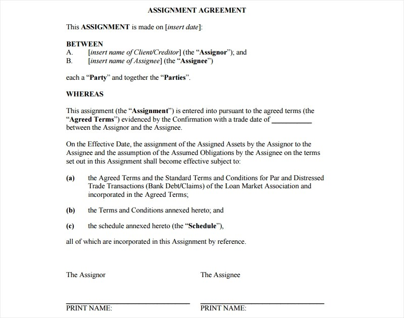 18+ Assignment Agreement Examples  Samples - PDF, DOC