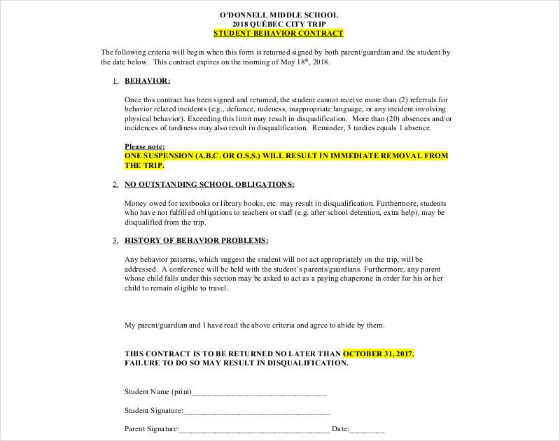 6+ Behavior Contract Templates - Free Word, PDF Format