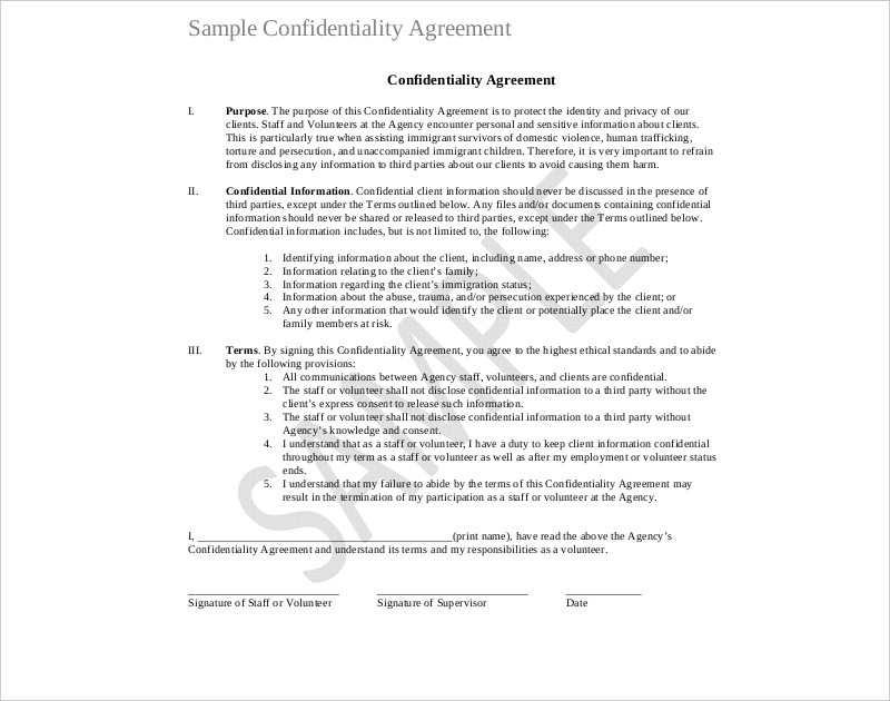 20+ Confidentiality Agreement Examples  Samples - PDF, DOC - volunteer confidentiality agreement