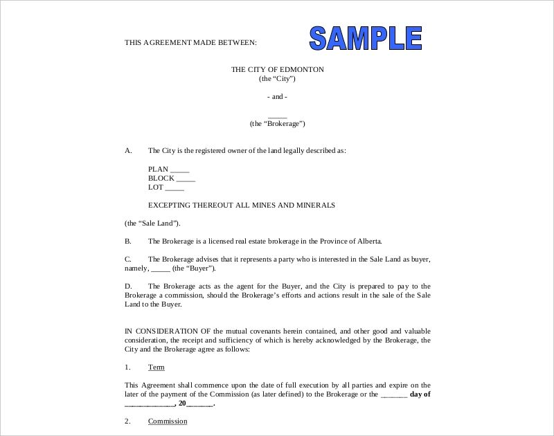 real estate commission agreement template