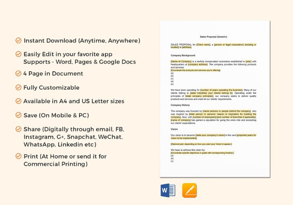 11+ Sales Proposal Examples - PDF, PSD, AI - sales proposal template