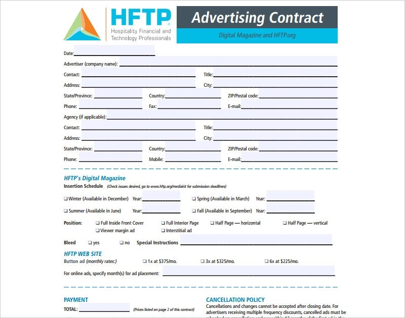 12+ Advertising Contract Examples - PDF, DOC