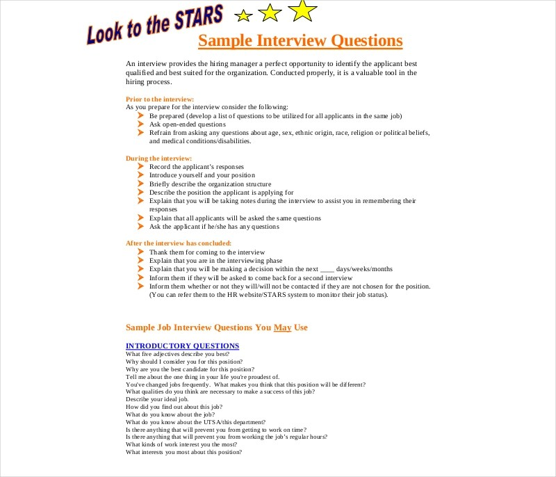 7+ Pre-Interview Questionnaires Examples  Samples