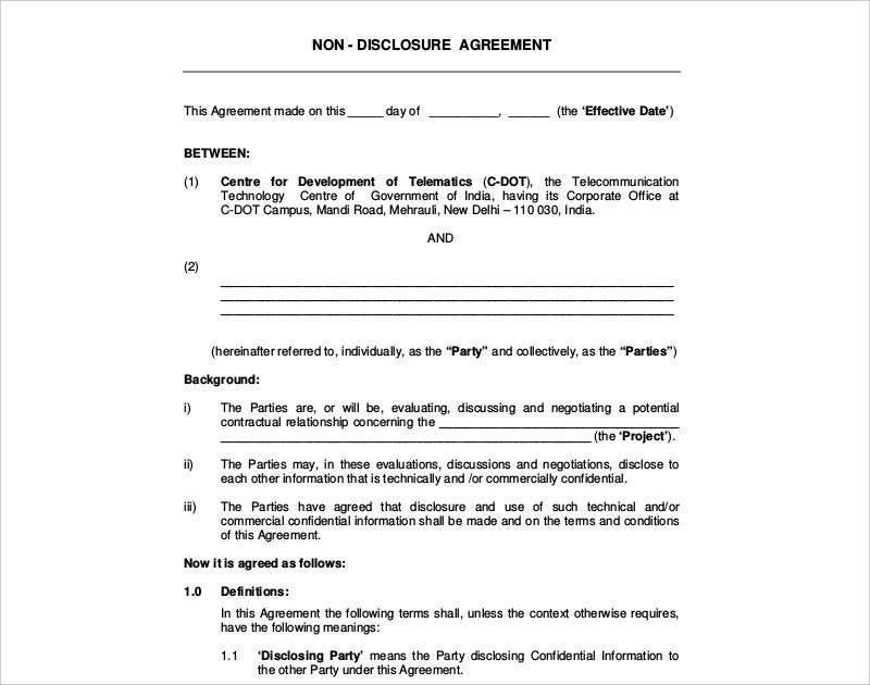 16+ Non-Disclosure Agreement Examples  Samples - PDF, DOC