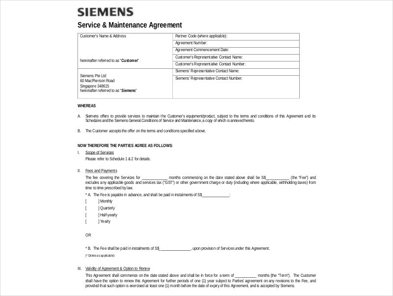 14+ Maintenance Agreement Examples  Samples - PDF, DOC - maintenance agreement
