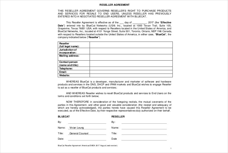 15+ Reseller Agreement Examples - PDF, DOC