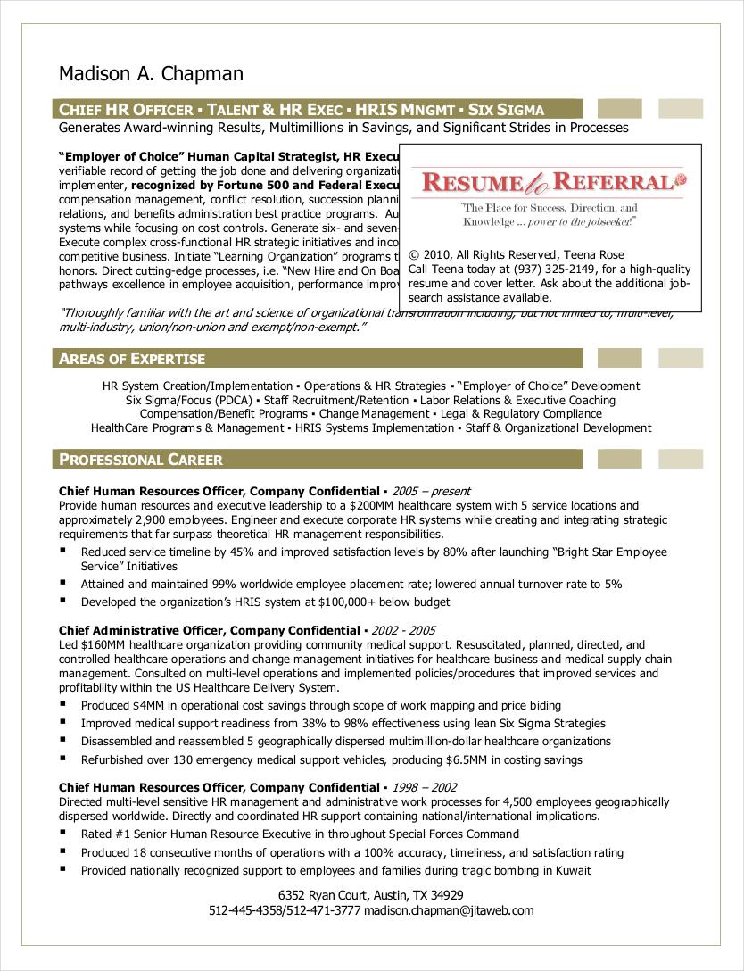 sample resume of hr