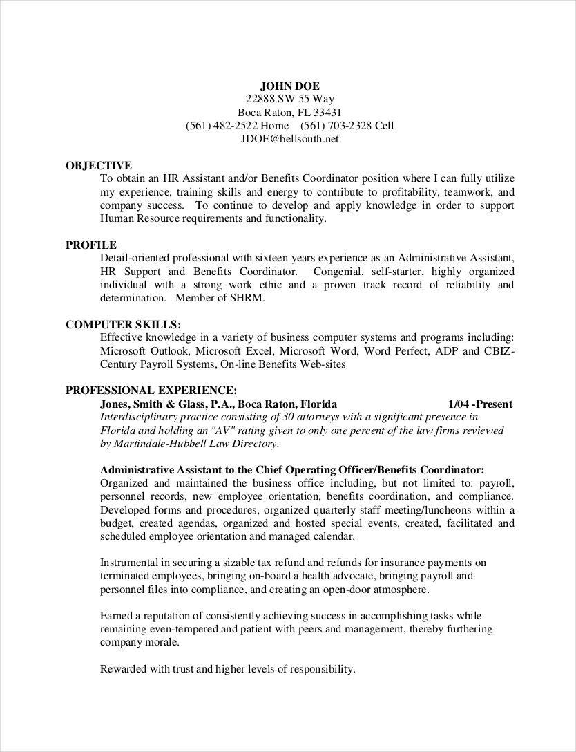 resume human resources examples
